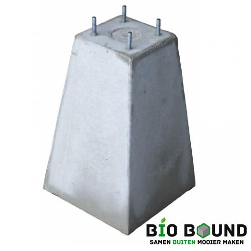 Betonpoer 35 cm hoog 4 x draadeind M10 biobased circulair