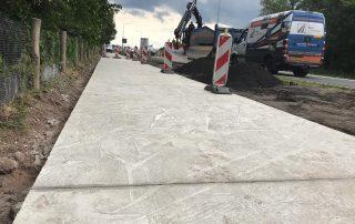 circulair biobased betonnen fietspad in het werk gestort