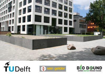Circulaire, biobased bloembakken voor duurzame campus TU Delft