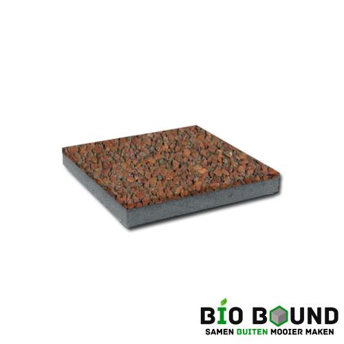 circulaire, biobased betontegel watergestraald gerona rood 2-5