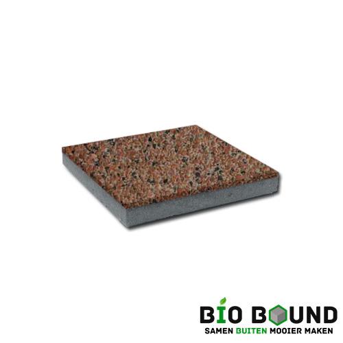 circulaire, biobased betontegel watergestraald oviedo rood