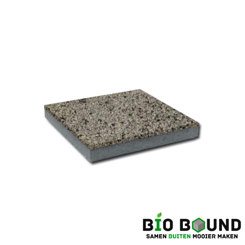 circulaire, biobased betontegel watergestraald segovia grijs witte cement