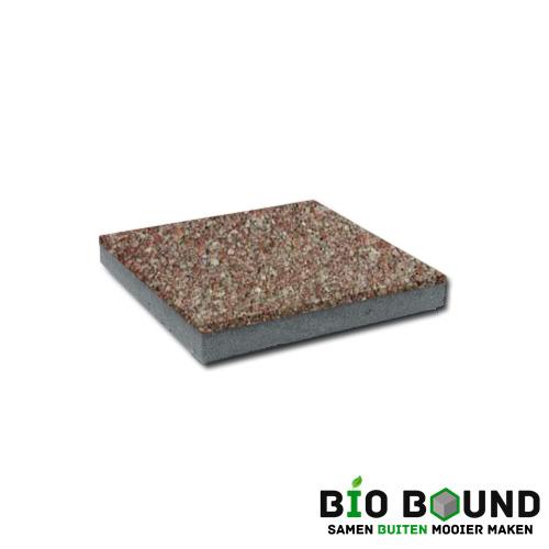 circulaire, biobased betontegel watergestraald zamora rood