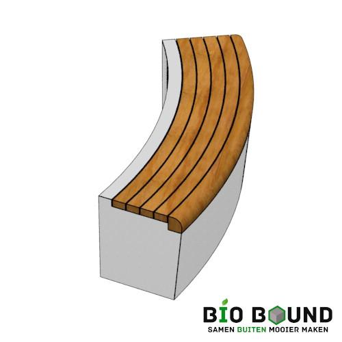 Parkband zitrand bank Elegance basis bocht met zitting rechts links biobased circulair beton