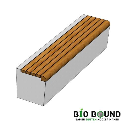 Parkband zitrand bank Elegance basis met houten zitting volledige breedte biobased circulair beton