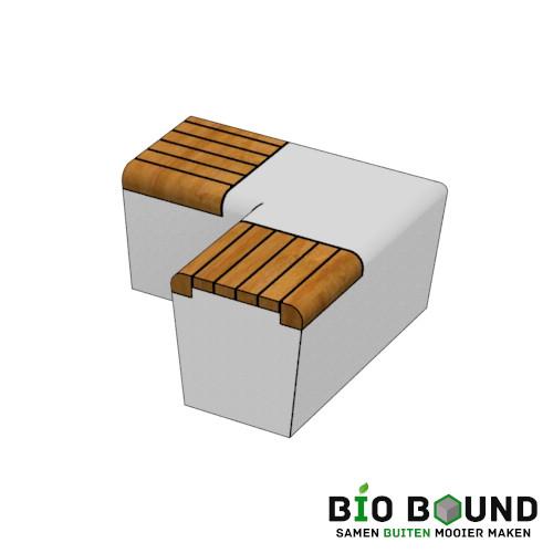 parkband zitrand bank elegance tweezijdig hoek met zitting biobased circulair beton