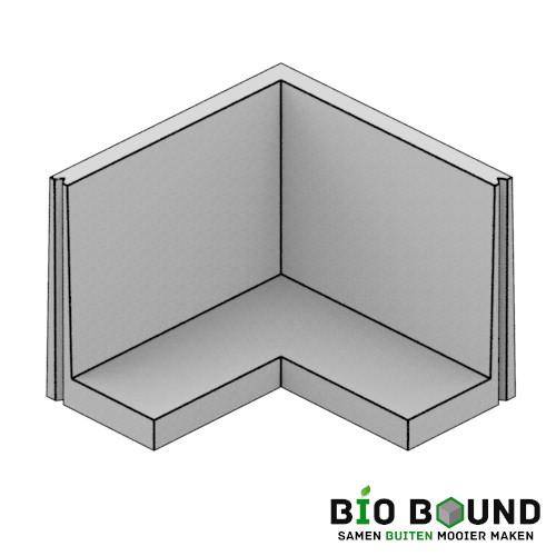 Hoek keerwanden circulair, biobased beton