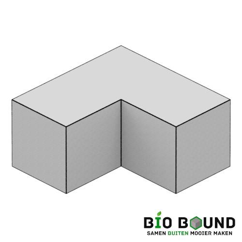circulaire, biobased parkband bloembakband hoekstuk 50 x 50 cm