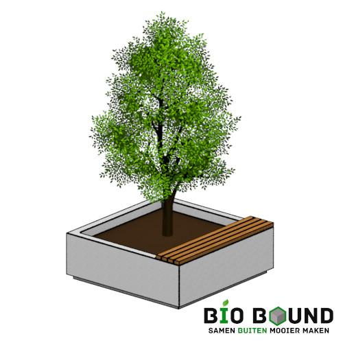 circulaire bloem boom bak met zitting van duurzaam beton