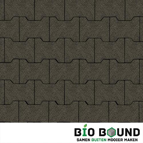 Circulaire, biobased H-verbandsteen watergestraald basalt 1-3 glanskies