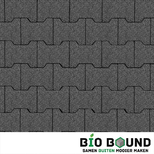 Circulaire, biobased H-verbandsteen watergestraald basalt 3-5 glanskies