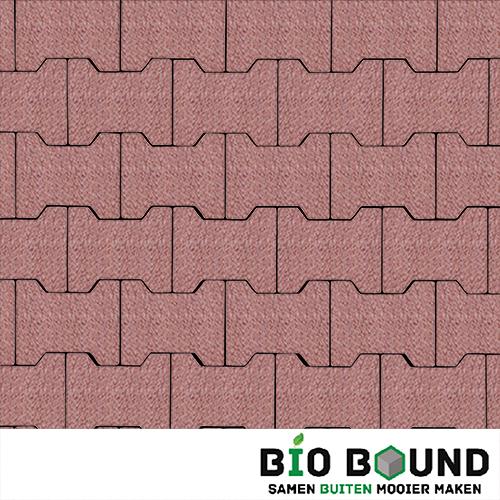 Circulaire, biobased H-verbandsteen watergestraald bilbao rood