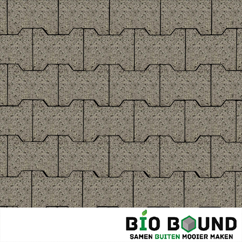 Circulaire, biobased H-verbandsteen watergestraald segovia grijs-witte cement